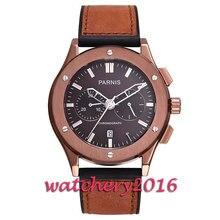 New 44mm Parnis coffee dial sapphire glass date adjust full chronograph quartz movement Men's Watch