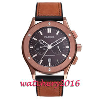 New 44mm Parnis coffee dial sapphire glass date adjust full chronograph quartz movement Men's Watch