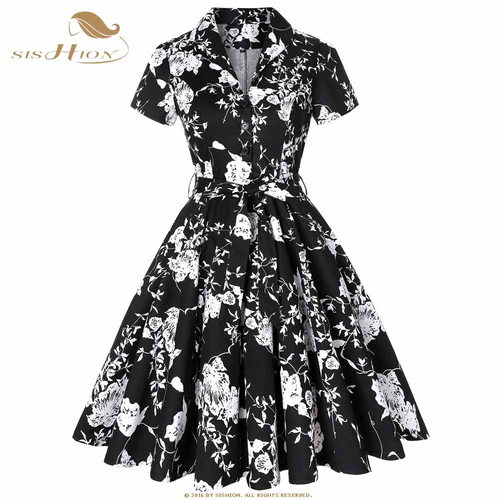 5049fea50 Cotton Elegant Black Dress Designer Plus Size Women Clothing Floral Print  Autumn Ladies 50s 60s Vintage