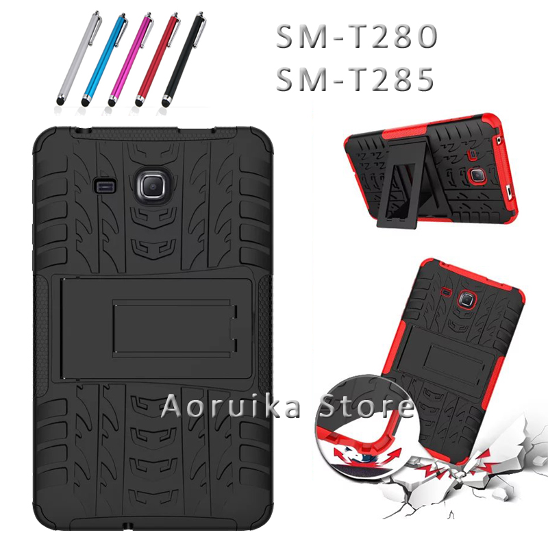 For Samsung Galaxy Tab A (A6) 7 T280 t285 Tablet case Heavy Duty Defender Rugged TPU+PC Armor Dazzle Shockproof KickStand Cover tire style tough rugged dual layer hybrid hard kickstand duty armor case for samsung galaxy tab a 10 1 2016 t580 tablet cover