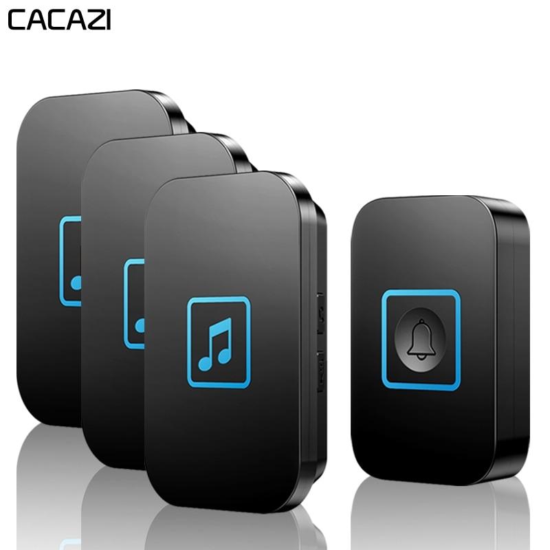 CACAZI Intelligent Wireless Doorbell Waterproof 1 Button 3 Receiver 300M Remote US EU UK AU Plug Home Battery Door Bell ChimeCACAZI Intelligent Wireless Doorbell Waterproof 1 Button 3 Receiver 300M Remote US EU UK AU Plug Home Battery Door Bell Chime