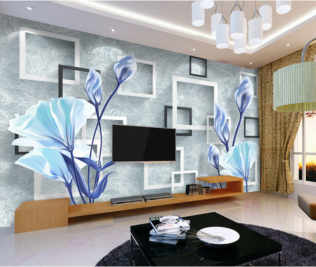 Custom 3D floral wallpaper, warm and elegant blue flowers for the living room bedroom TV background wall papel de parede custom baby wallpaper snow white and the seven dwarfs bedroom for the children s room mural backdrop stereoscopic 3d