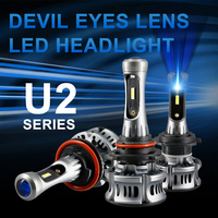 U2 Blue Devil Angel Eyes H7 LED headlight CSP 9005 HB3 car lamp Mini Projector Lens 12V 24V H8 LED Light 9006 HB4 H11 Fog bulb