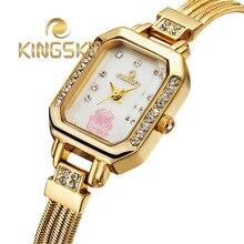 Мода платье кварцевые часы женщины дамы золото серебро люксовый бренд с цветком кристалл нержавеющей стали наручные часы relogios