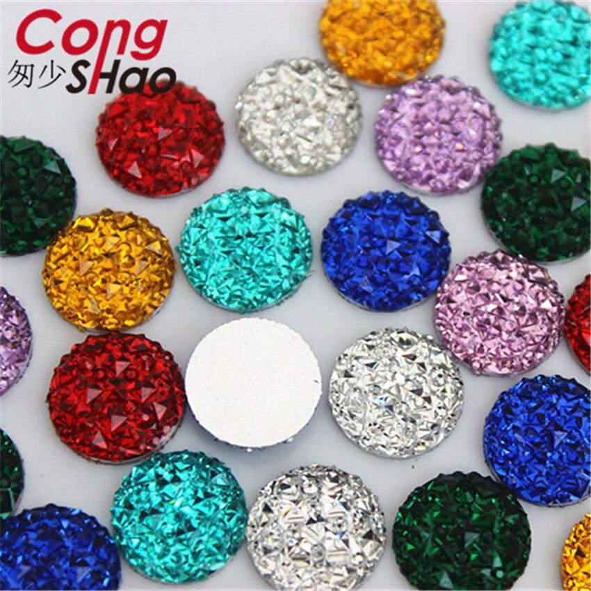 Cong shao 200 pçs 12mm redondo flatback pedras e cristal resina strass apliques gemas para diy traje botão artesanato yb222