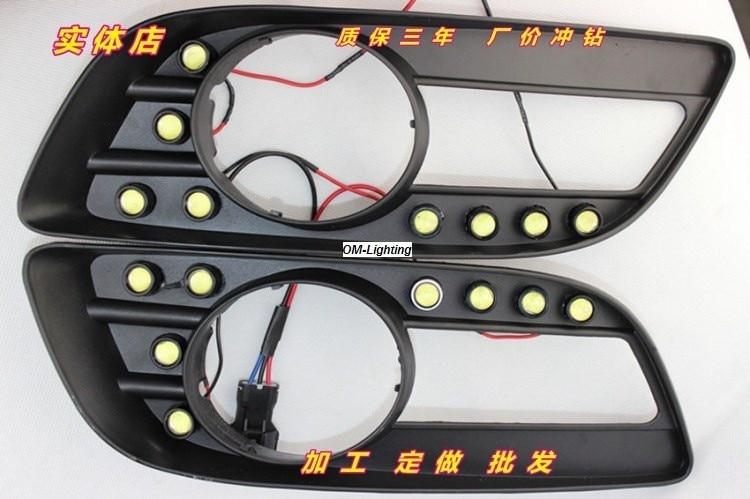 СМК дневного света для Великая стена haval Ховер Н5 Сид DRL дневного света передняя противотуманная фара 8 светодиодов 9мм фишки с объективом водонепроницаемый