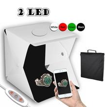 2 LED pliant Lightbox 30*30 Portable photographie Studio Softbox luminosité réglable boîte à lumière pour appareil Photo reflex numérique