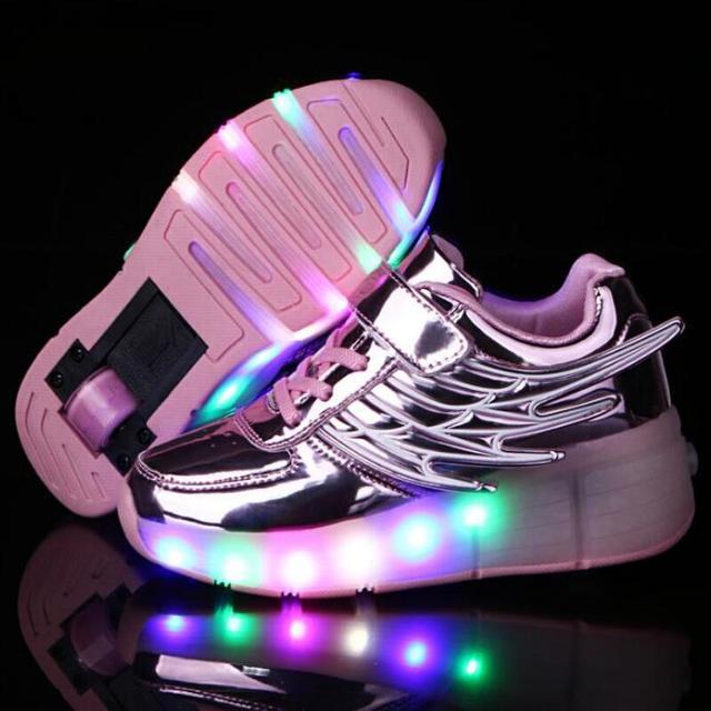 Criança LEVOU Sapatos Jazzy Júnior Meninos Meninas LED acender Tênis Sapatos de Rolo crianças Afirmando Com Rodas Única Marca Sapatos Para Meninos