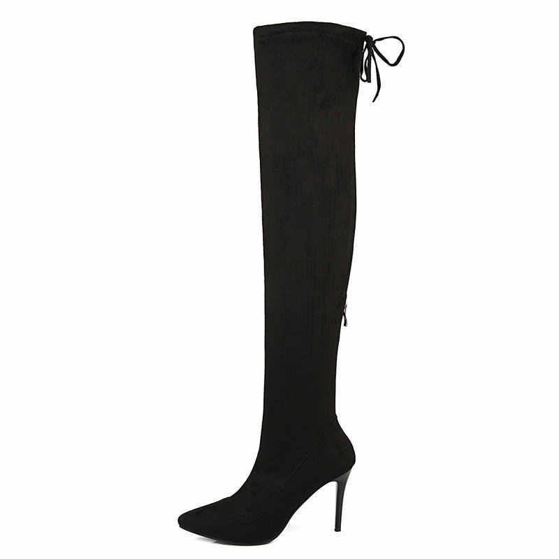 Kobiety Stretch uda buty Faux Suede zamek na kolana buty Sexy cienki wysoki obcas jesień zima buty czarny szary wino czerwone