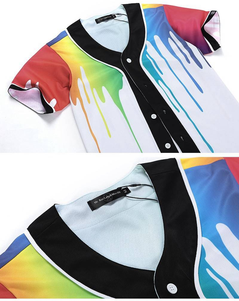 c4acf2d6a33 ... New Brand Unisex Baseball Shirts Retro Mens Button-Down 3D Print  Rainbow Jersey Casual V ...