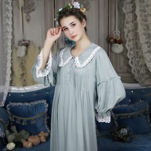 New Arrival Retro Sweet Princess Lady Nightgowns Cotton Palace Nightdress Long-Sleeve Lace Sleepwear Female Home Wear BL615