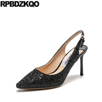 Pointed Toe Shoes Stiletto Sparkling Strap 3 Inch Party Glitter Big Size Pumps 33 High Heels Sandals Black Slingback Gold For