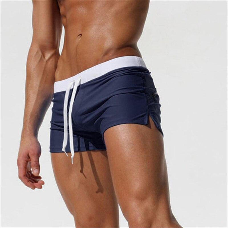 Navy-Swimwear Men Boxer Shorts Swim Trunks Swimming Surf