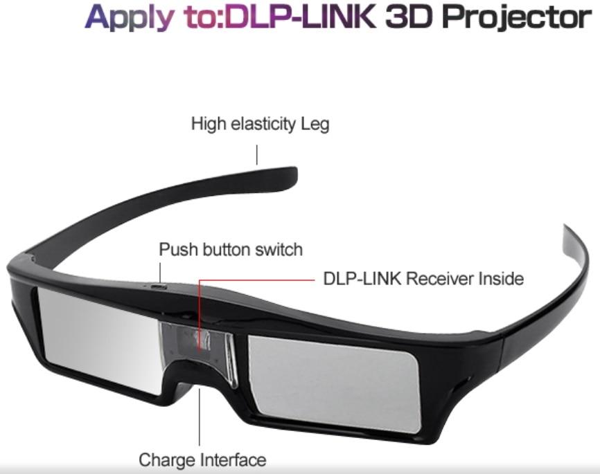 6c81cae85ef5d ELECTSHONG DLP 3D Active Shutter Glasses for Optoma Epson Sony LG Acer DLP  LINK Projectors Gafas