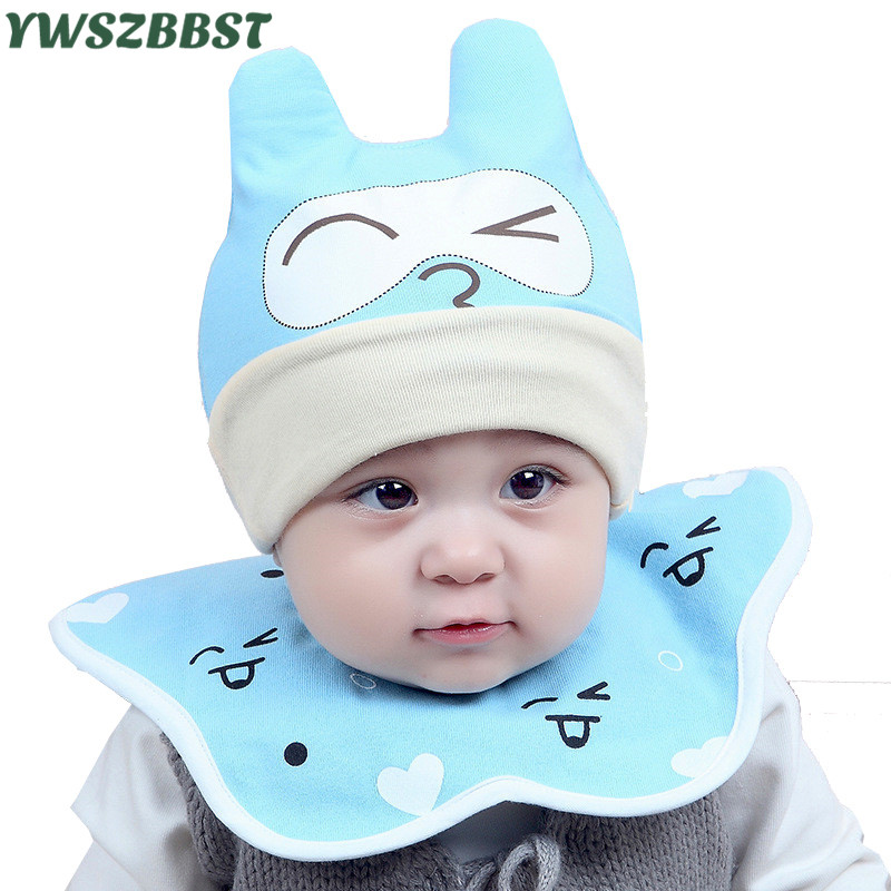 2 pcs /set Newborn Hats with Round Bibs Baby Hats for Boys Girls Cap Cotton Toddler Infant Hats Baby Cap Beanies