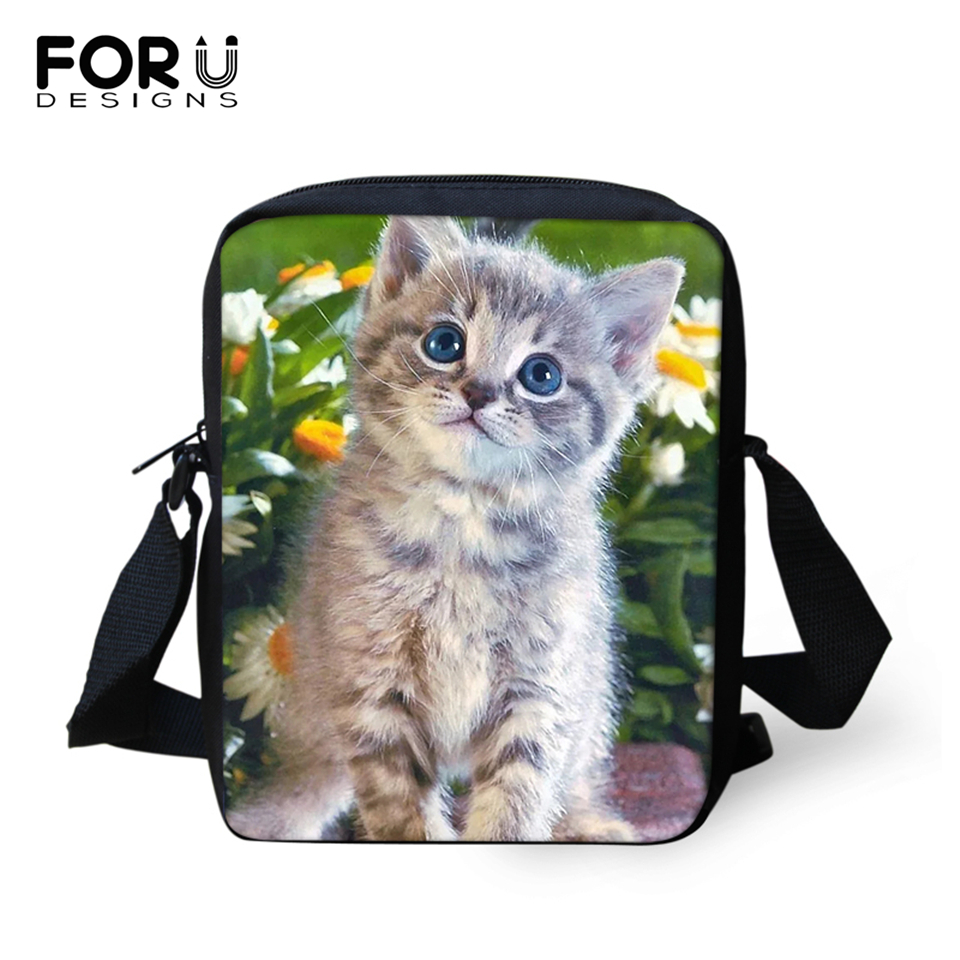 FORUDESIGNS Cute Baby Cats Prints Women Messenger Bag Crossbody for Flower Purse Small Phone Coin Bags Handbags