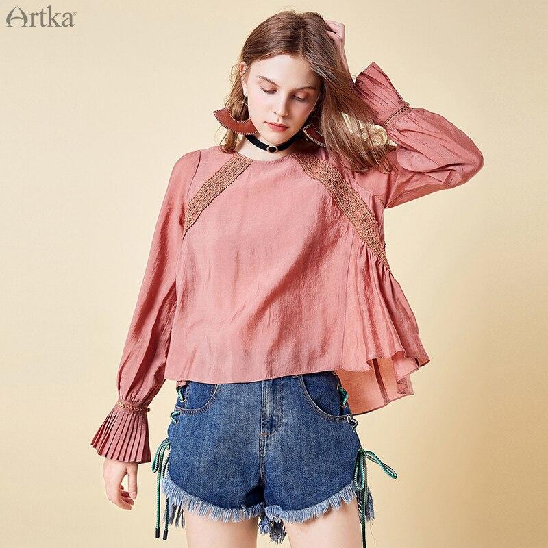ARTKA 2019 nouveau femmes col rond chemise mode Simple gland papillon manches conception dame couleur unie hauts SA15091C