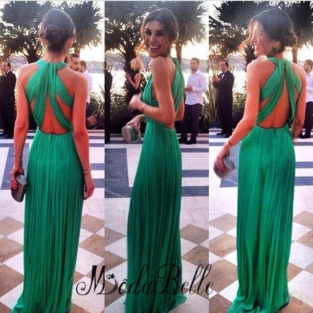 5a1cf44de5 Elegante verde baile vestidos largos para adolescente 2016 abrir volver vestidos  graduación sin mangas Vestido Maxi