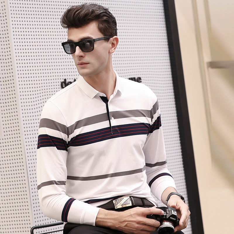 2018 Autumn New Men's   Polo   Shirt Simple Fashion Striped Color Matching Lapel Long Sleeve Korean Slim Cotton