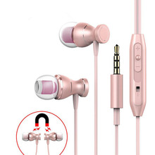 MENGYU Magnet Metal Earphone Heavy Bass Sound Anti-Sweat Sport Headset with Mic Handsfree