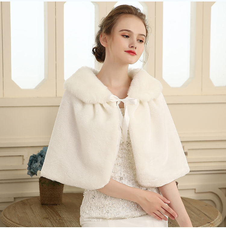Custom made faux fur special occasion poncho new women bridal wraps shawl white wedding dress gown cape winter accessories