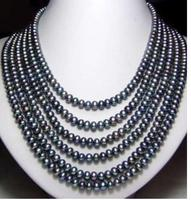 Women Gift Freshwater New Fashion Hot sale Long 7 8mm Black Akoya Cultured Pearl Necklace 100Inch Jewelry Design Wholesale and r