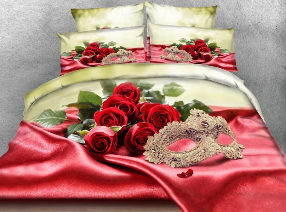 Bed Met Rozen.3d Rode Roos Dekbed Set Beddengoed Spreien Dekbed Dekbedovertrek