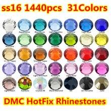 1440 pçs/saco ss16 (3.8 ~ 4.0mm) 40 cores dmc flatback cristais strass reparo quente, vidro strass costura & tecido vestuário strass