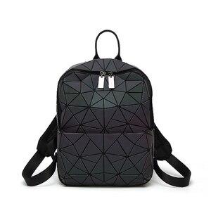 Image 2 - Sac à dos à bandoulière géométrique pour femmes, sacoche pour école pour adolescents, lumineux, sacoche Laser, nouvelle collection