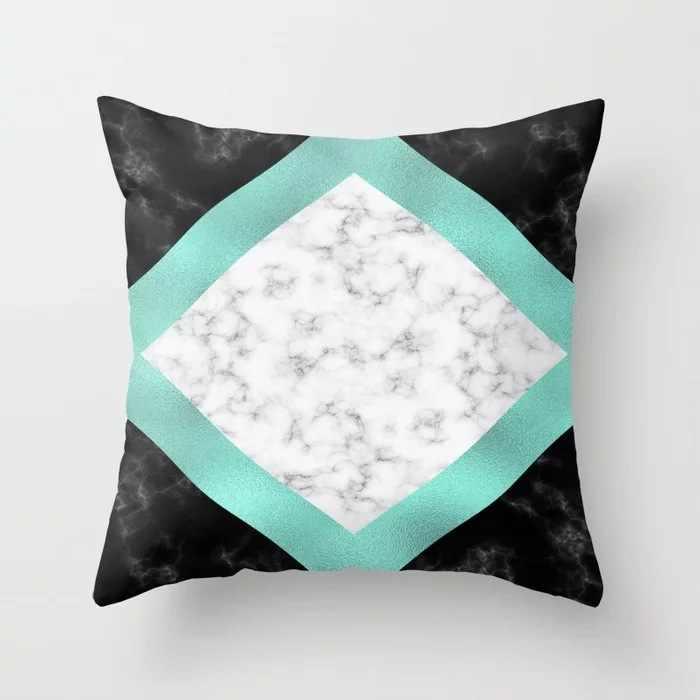 ZENGIA Azul/Verde capa de Almofada Geométrica 45x45 centímetros Mármore Textura Throw Pillow Caso Capa de Almofada Para O Sofá /Home Decor Fronha