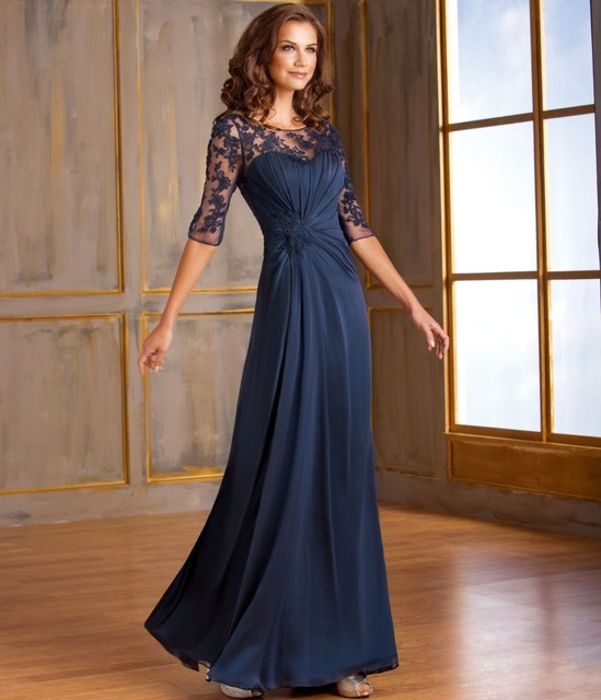 fa97ea496a YM02 Navy Blue Long Mother Of The Bride Dresses With Half Sleeves Illusion  Sweetheart Chiffon Mother