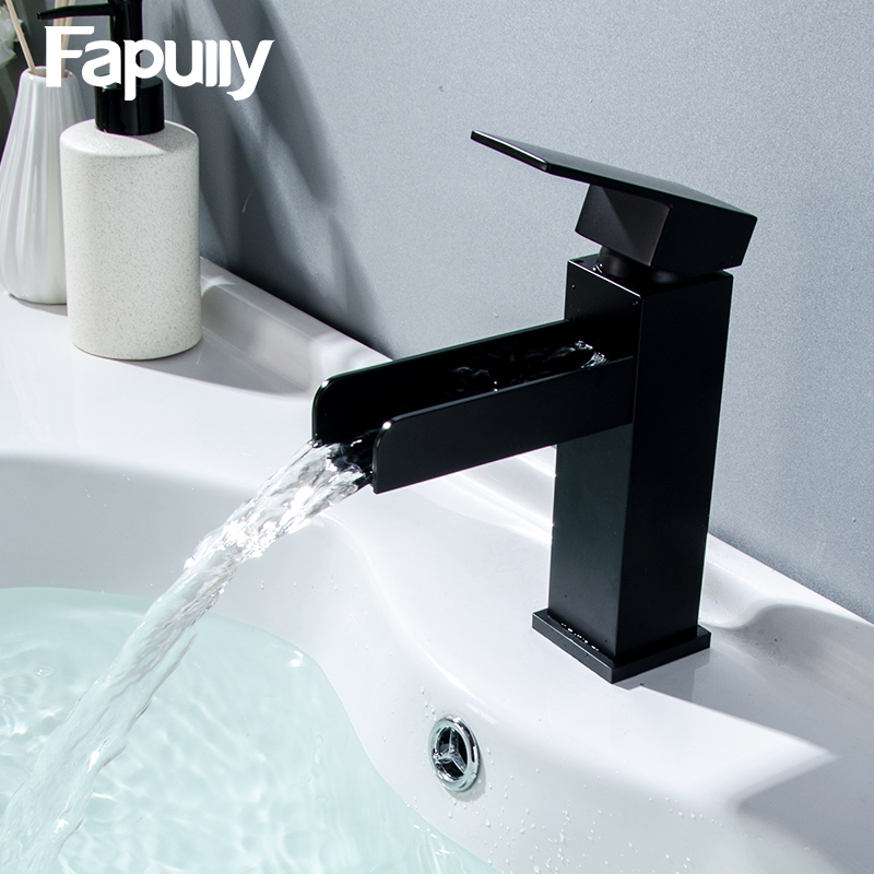 Fapully Waterfall Basin Bathroom Faucet Deck Mounted Sink Tap Black Single Handle Mixer Taps Single Holder Hot and Cold Water led waterfall bathroom basin faucet deck mounted washbasin bathroom tap 5 pcs set flush cold and hot water mixer taps