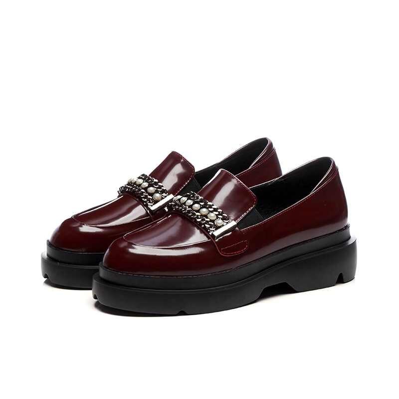 Vache Style Femmes L19 Bout En Décoration Krazing Pot Rouge Perle Simple Pompes vin Cuir Solide Noir Chaussures Mode Augmenté Rond Chaîne qzpMVSU