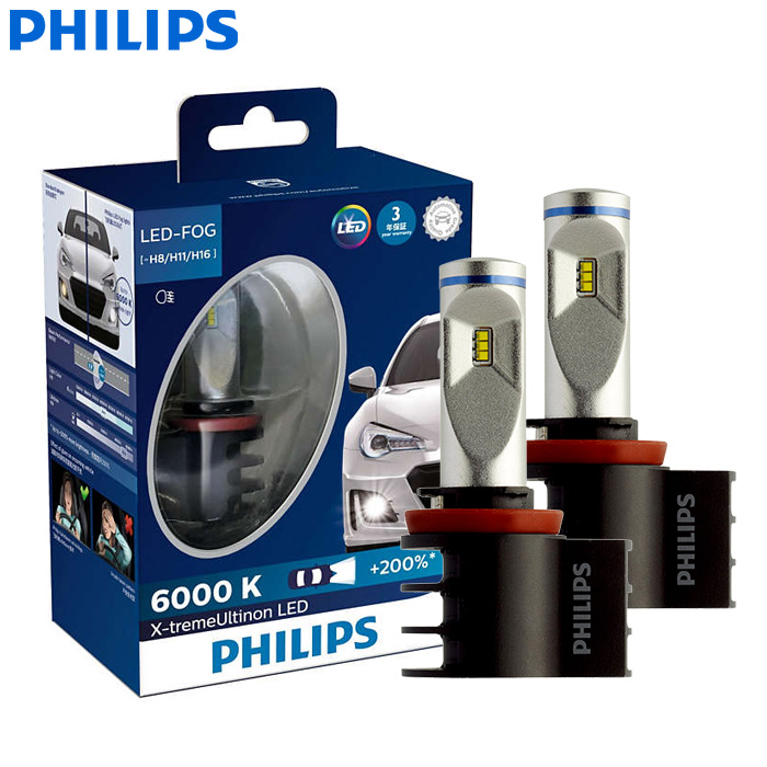 Philips X-treme Ultinon LED H8 H11 H16 12V 12834UNIX2 6000K Car LED Fog Lamps Auto Headlight +200% More Bright (Twin Pack)