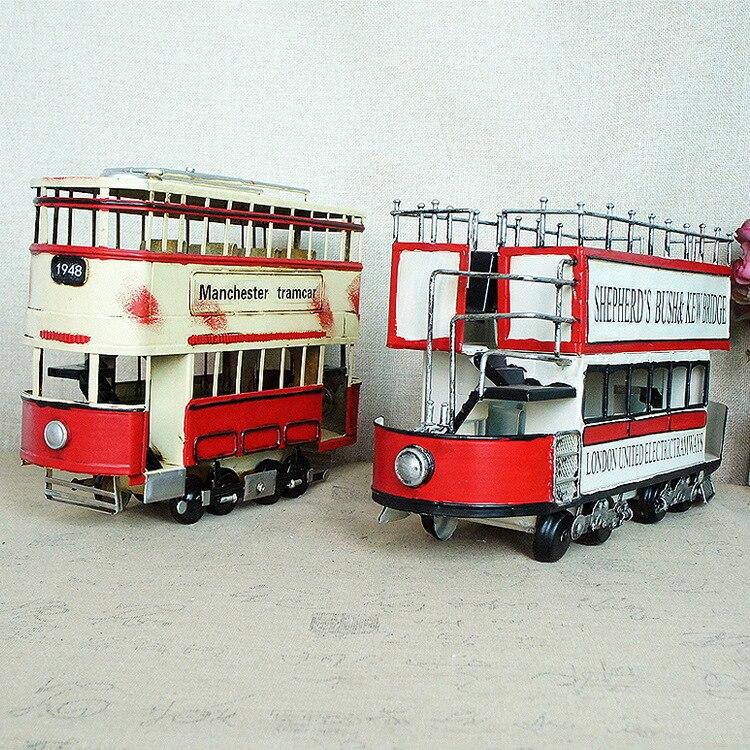 Nouveau métal 1829 vapeur à deux étages tram modèle rétro voiture modèle vintage angleterre SMT851 vintage décor à la maison antique décor à la maison