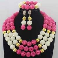 Beautiful New African Fuschia Pink/White Beads Jewelry Set Nigerian Wedding African Beads Jewelry Set Wedding Jewelry Set HD8537