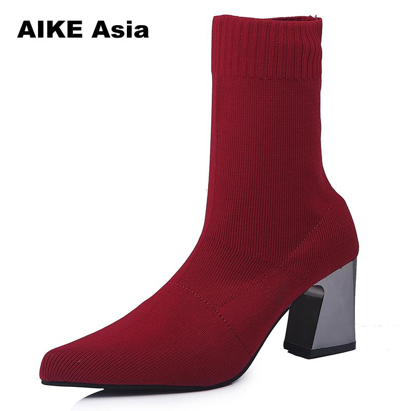 Plus Size 35-43 Ankle Boots Stretch Fabric Sock Boots Chunky High Heels Stretch Women Autumn Winter Sexy Booties Pointed Toe zorssar fashion ankle elastic sock boots chunky high heels stretch women autumn winter sexy booties women ankle boots size 43