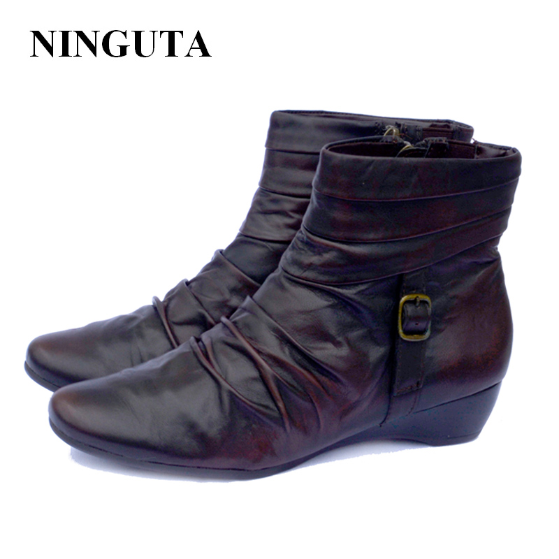 цена NINGUTA leather wedges ankle boots for women autumn boot shoes woman онлайн в 2017 году