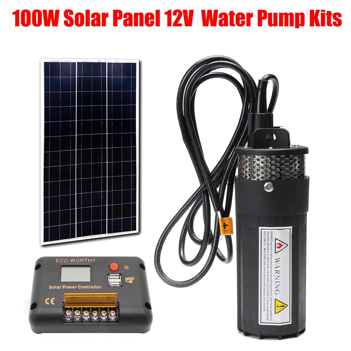 WOLIKE 100W Solar Panel With 12V Deep Well Water Pump + 15A Solar Power Controller Submersible Pump System