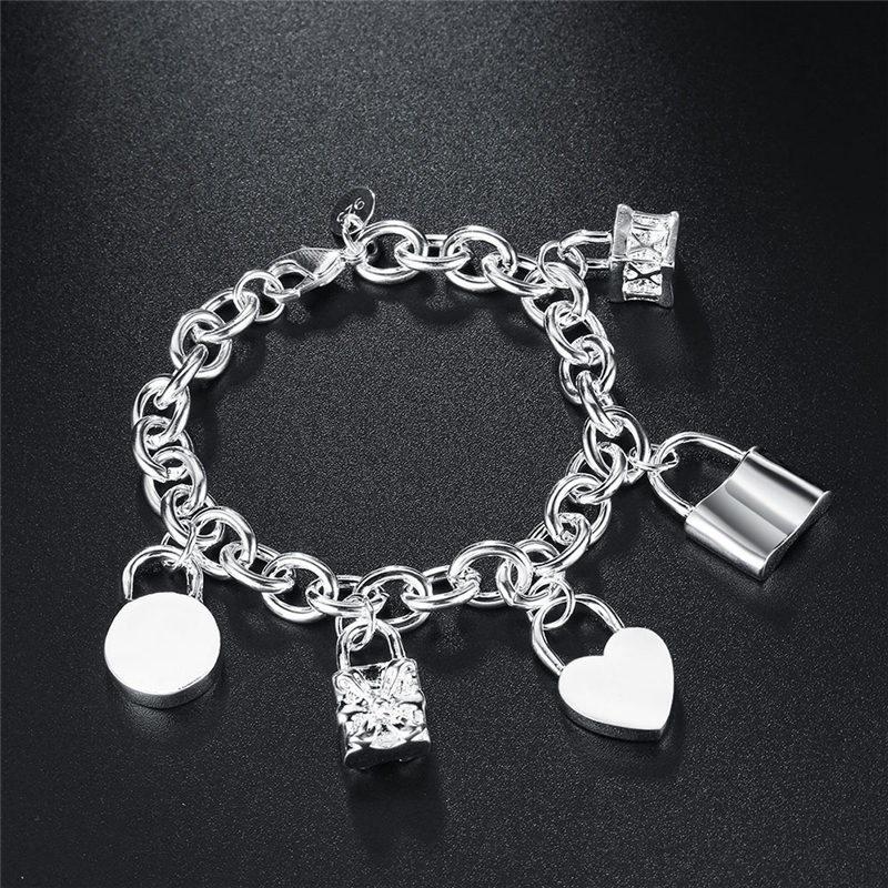 DOTEFFIL 925 Sterling Silver Bracelet Heart / Circle / Square Lock Bracelets Bangles Woman Man Fashion Charm Wedding Jewelry