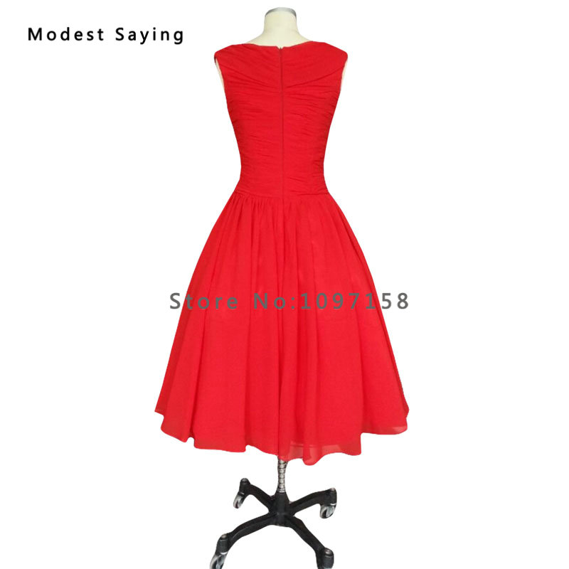 Modest Red Ball Gown Pleated Cocktail Dresses 1950s Vintage Dress