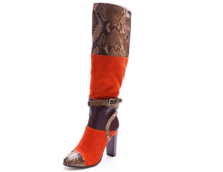 Women fashion boots round toe super high thick heels knee-high buckle decoration ankle strap women snakeskin designer boots women fashion boots round toe super high thick heels knee high buckle decoration ankle strap women snakeskin designer boots