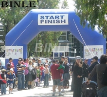 Personalized logo blue advertising angle inflatable race arch start and finish line arches gate for event