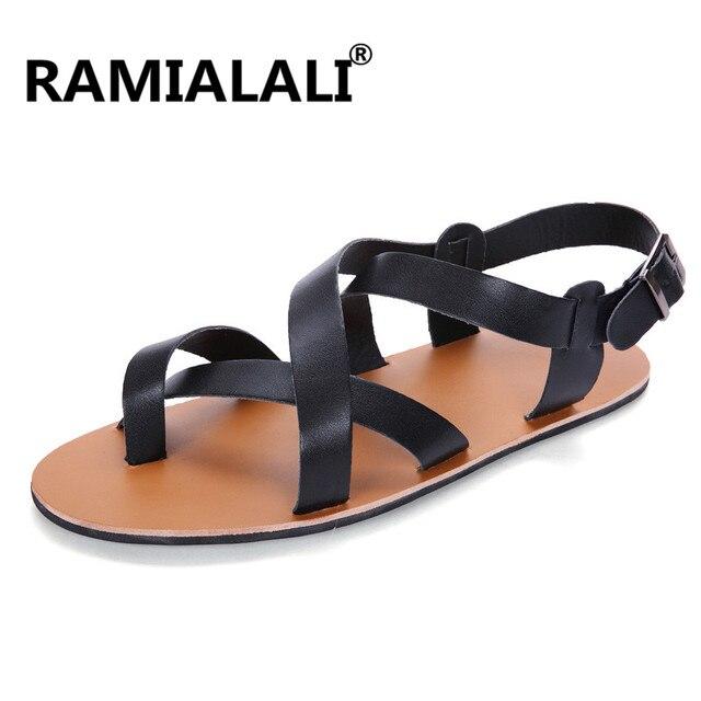 08b00512c34d Мужские сандалии, кожаные сандалии 2019, модные мужские сандалии-гладиаторы  на липучке, Брендовая