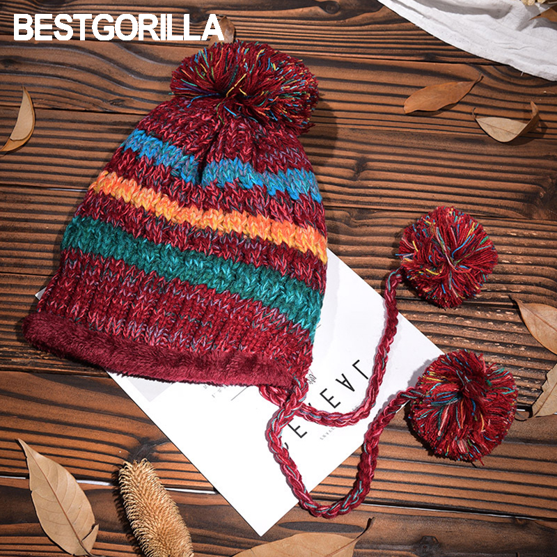 2017 new arrival women winter knitted hat thick warm fashion crochet knitting hats colorful striped back opening casual beanies winter knitting patterns chunky crochet hat