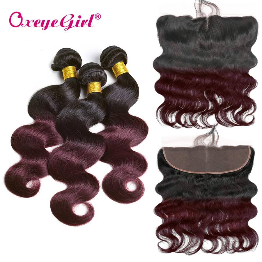 Pxeye girl Body Wave Bundles With Frontal 1B 99J Ombre Burgundy Brazilian Hair Non remy Human