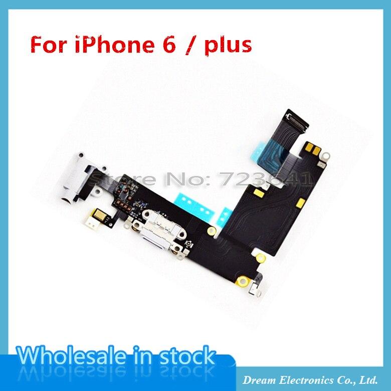 imágenes para 10 unids/lote oem para iphone 6 plus 5.5 cargador usb puerto de carga conector dock flex ribbon cable con jack de audio para auriculares