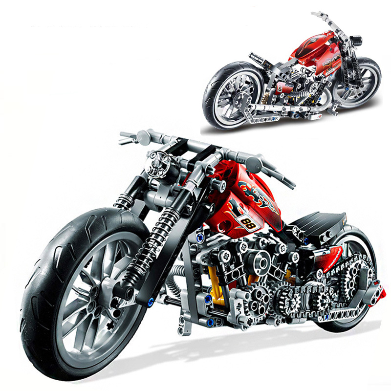 378PCS Racing Motorcycle Model Building Kits Compatible With Legoinglys Technic Bricks Motorcycle Blocks Toy