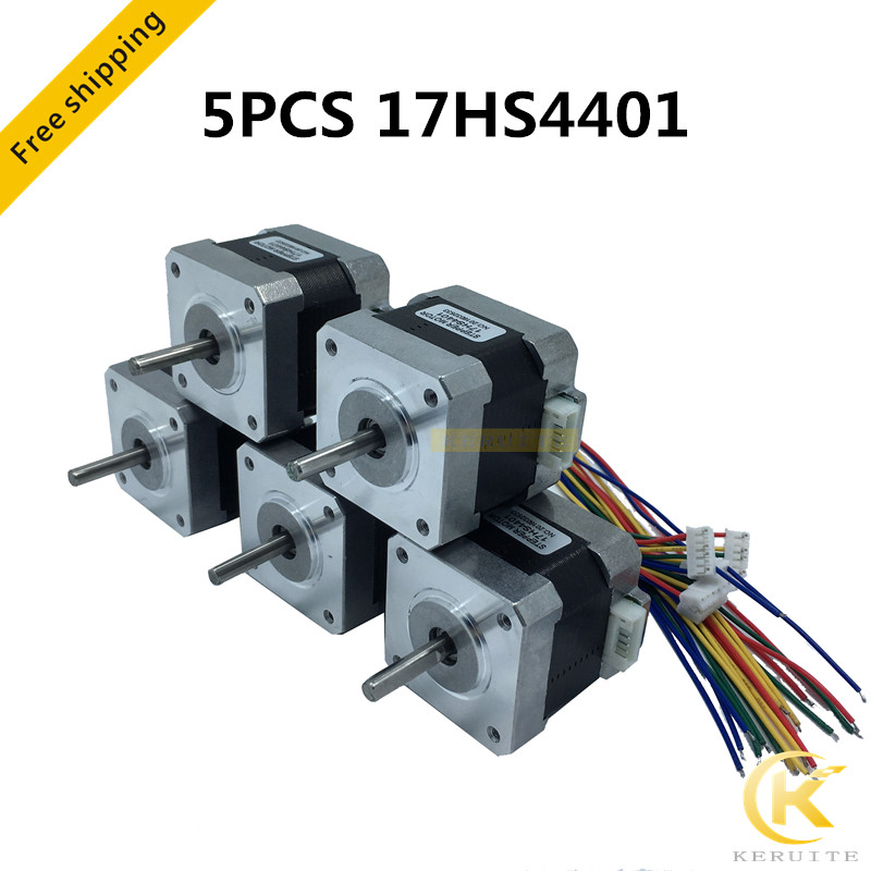 Free Shipping 5pcs 4 Lead Nema17 Stepper Motor 42 Motor
