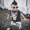 INS Мальчиков Одежда Череп Шорты Рубашки + Брюки 2 Шт. детская Одежда Устанавливает 100% Хлопок Бренд Детская Одежда Наборы Для Ребенка мальчики